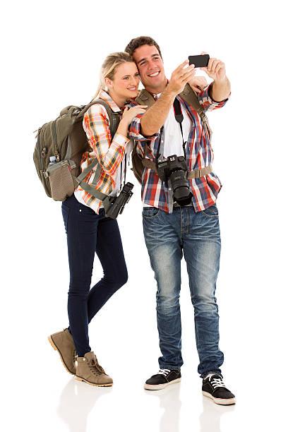 couple taking self portrait stock photo