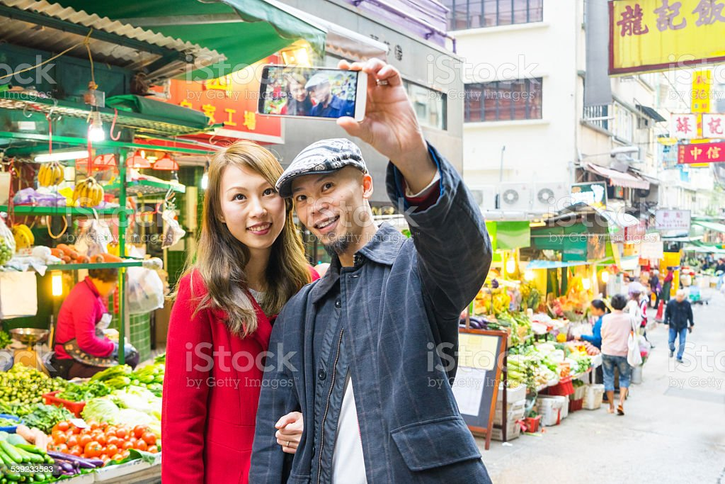 Couple Taking Selfie royalty-free stock photo