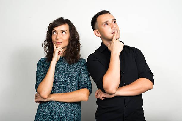 Couple thinking stock photo