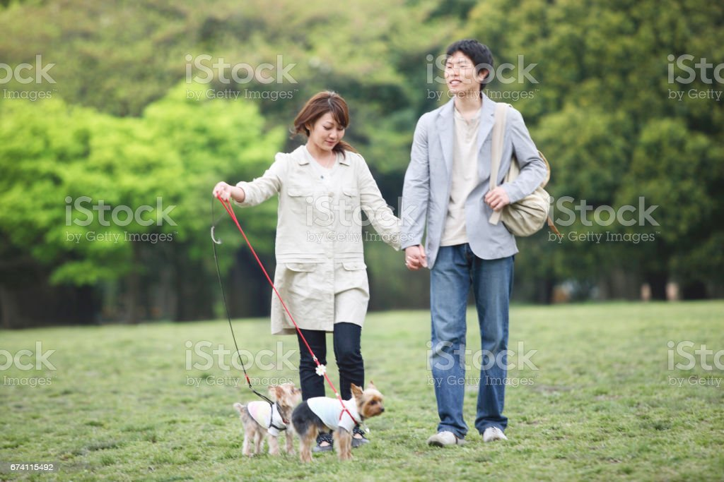 Couple to walk the dog royalty-free stock photo