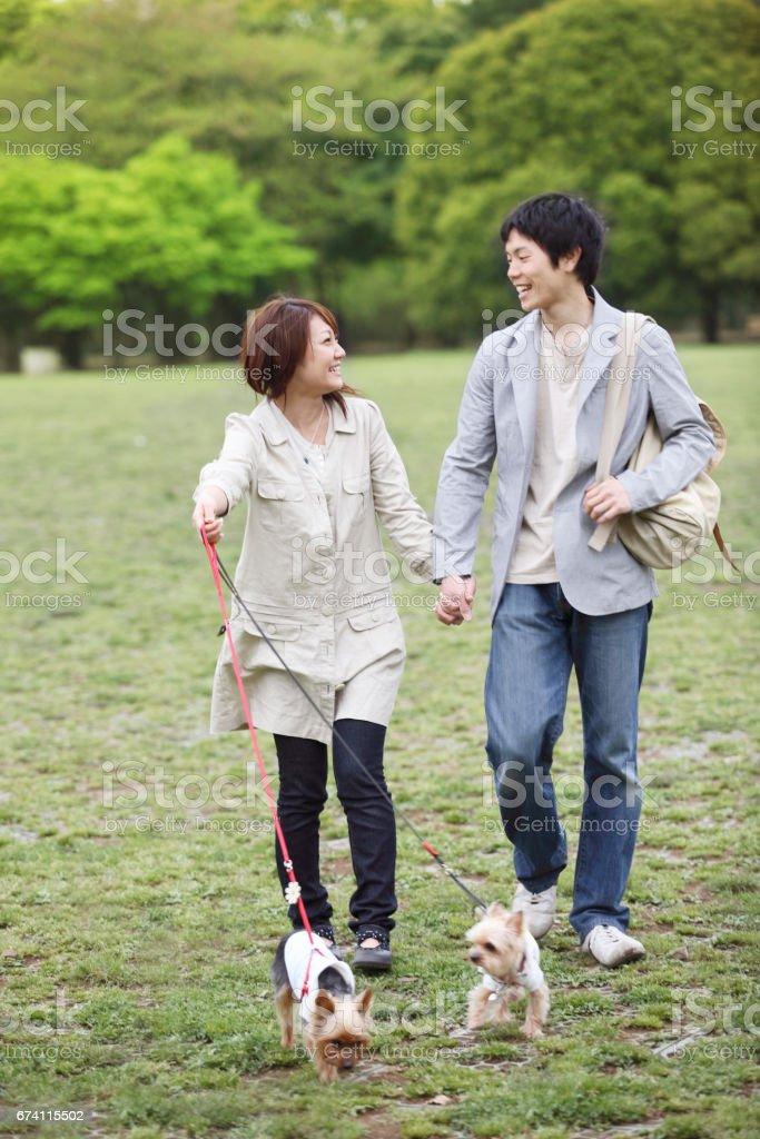對夫婦去遛狗 免版稅 stock photo