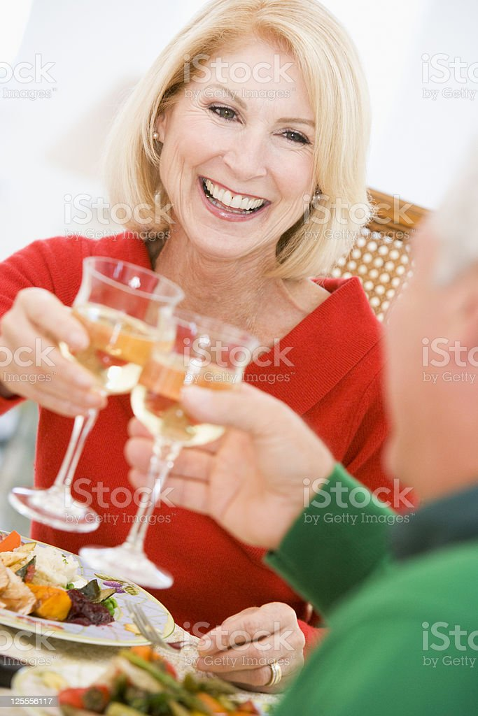 Couple Toasting At Dinner royalty-free stock photo