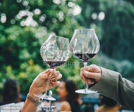 istock Couple toasting wine glasses 1089139762