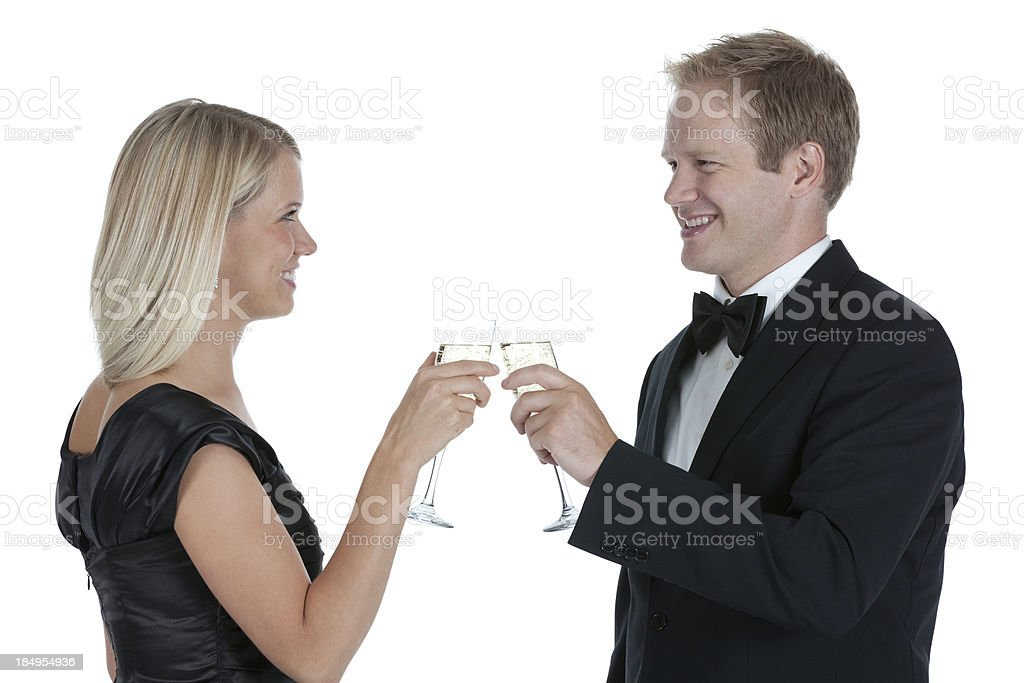 Couple toasting with champage flutes royalty-free stock photo