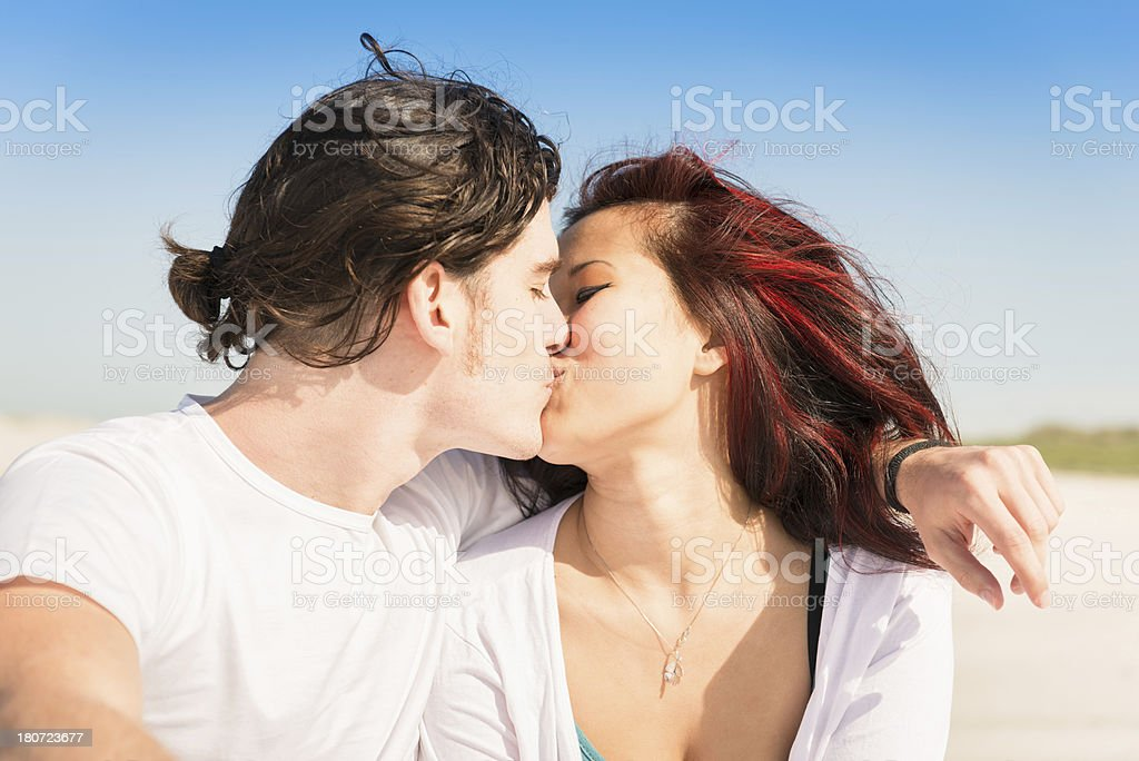 Couple togetherness on the beach royalty-free stock photo
