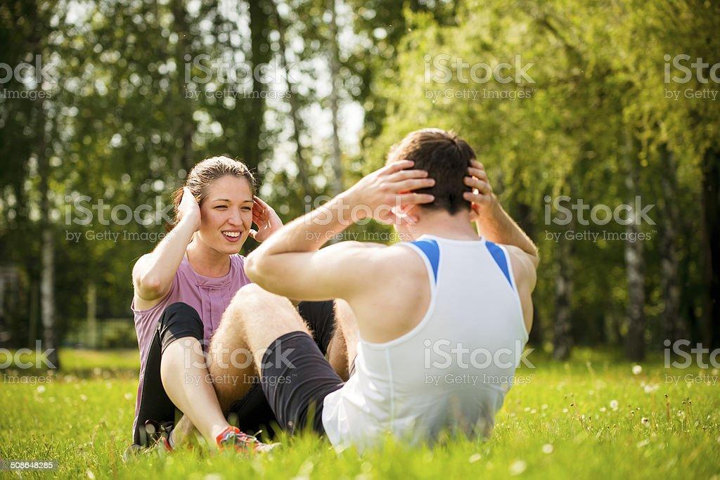 Couple training together stock photo