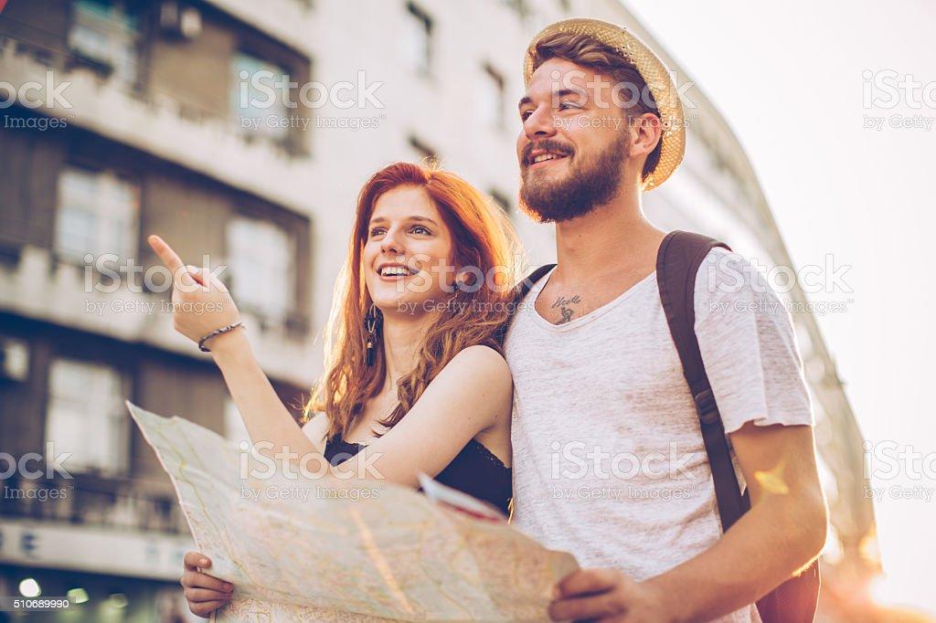 Couple traveling Europe stock photo