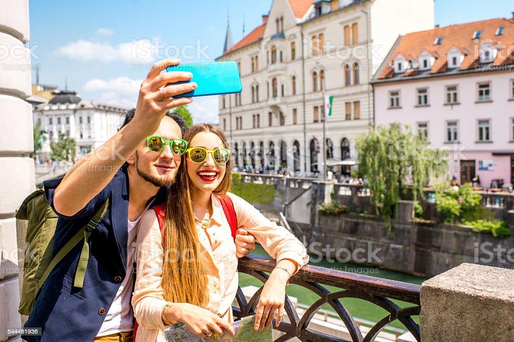 Couple traveling Slovenia stock photo