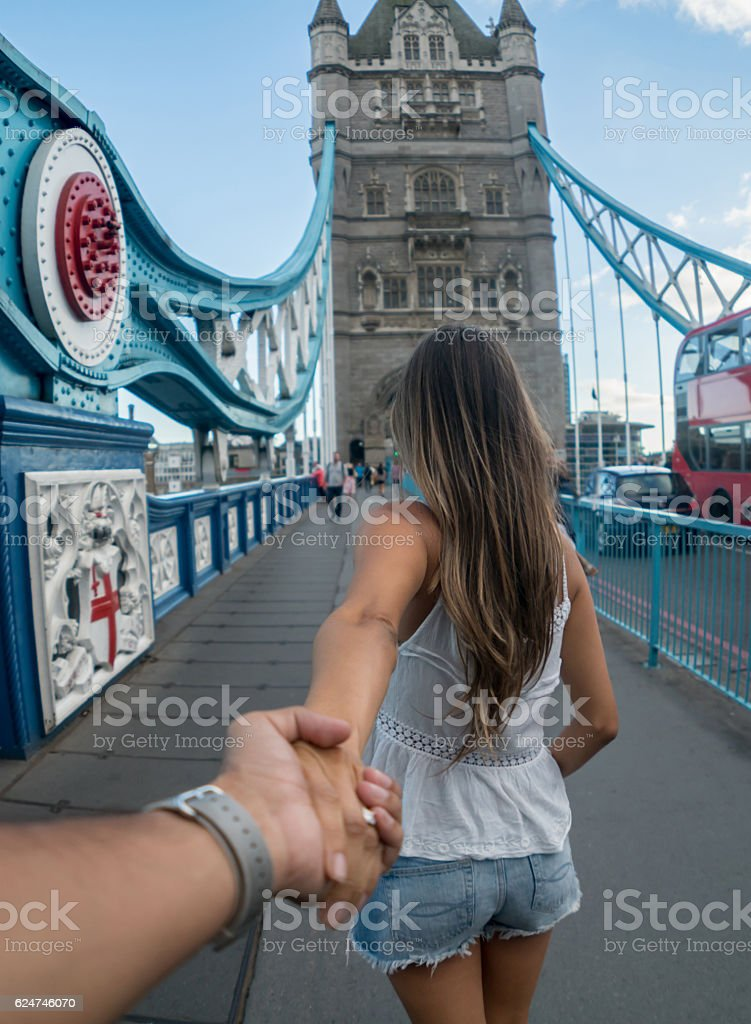 Couple traveling together in London stock photo