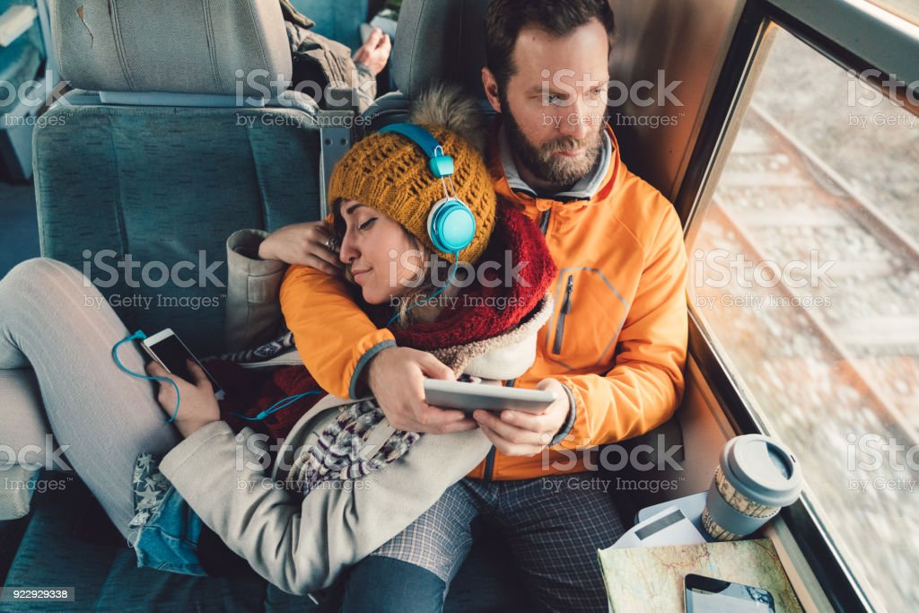 Couple traveling with train stock photo