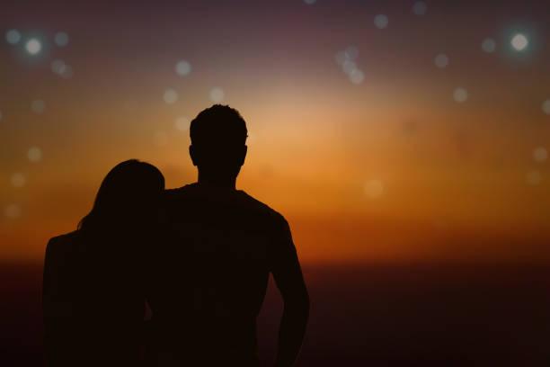 Couple under the Milky way stars. My astronomy work. stock photo