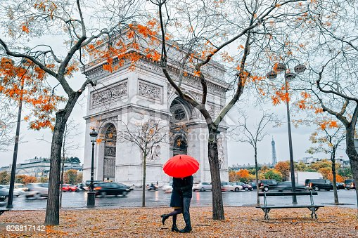 Couple under umbrella at rain in Paris