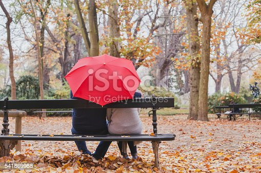 istock couple under umbrella in autumn park, love 541869988