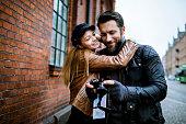 Couple using a camera