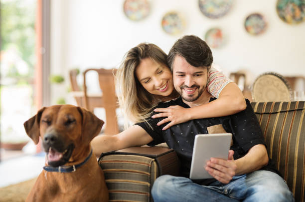 Couple using a tablet stock photo