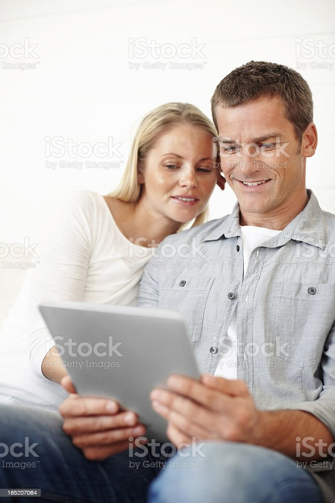 Couple using touchpad PC royalty-free stock photo