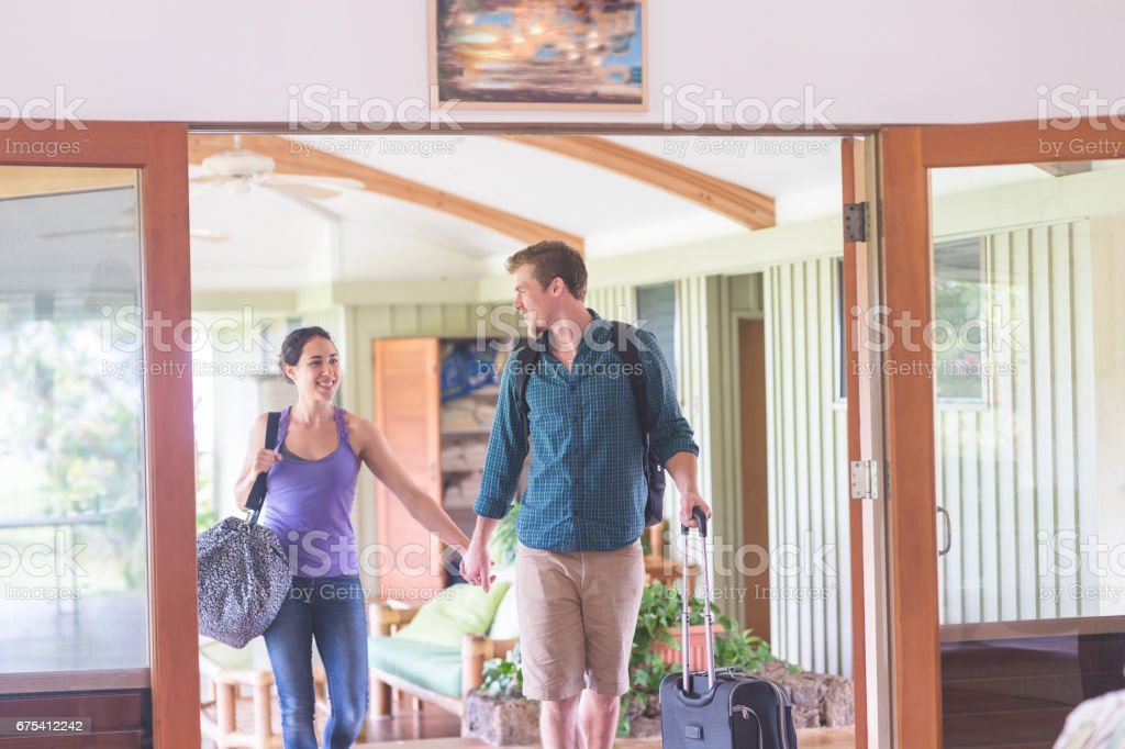Couple Vacation Arrival stock photo