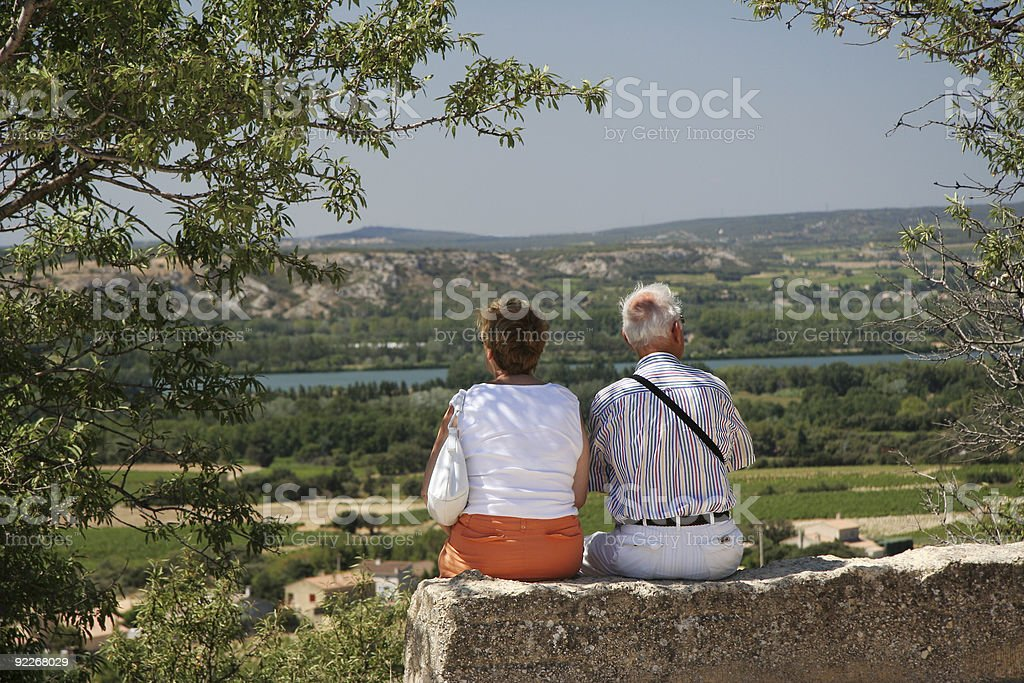 Couple viewing scenery royalty-free stock photo