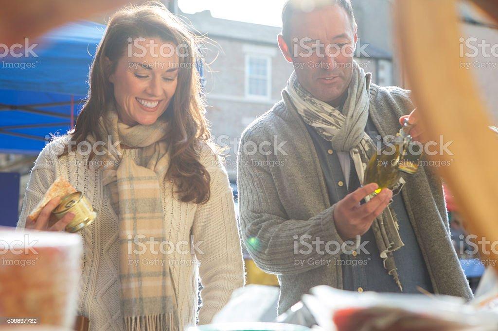 Couple Visit Local Food Market stock photo