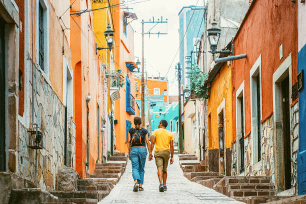 couple visiting guanajuato mexico - mexico stock pictures, royalty-free photos & images