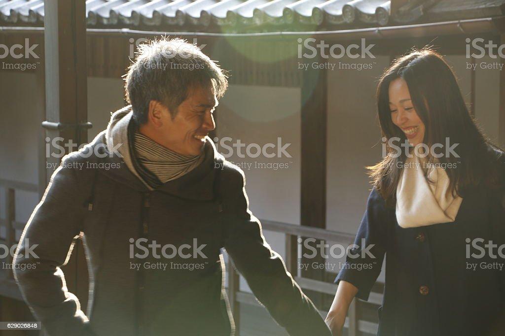 Couple visiting kyoto temple ストックフォト