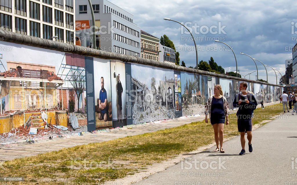 Couple visits exhibition called 'Waronwall' stock photo