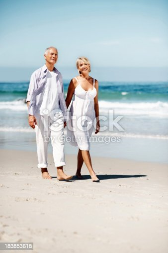 452783143 istock photo Couple walking along the beach 183853618