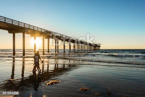 San Diego, USA - November 7, 2015: Couple walking by Scripps Pier during sunset in La Jolla, San Diego, California