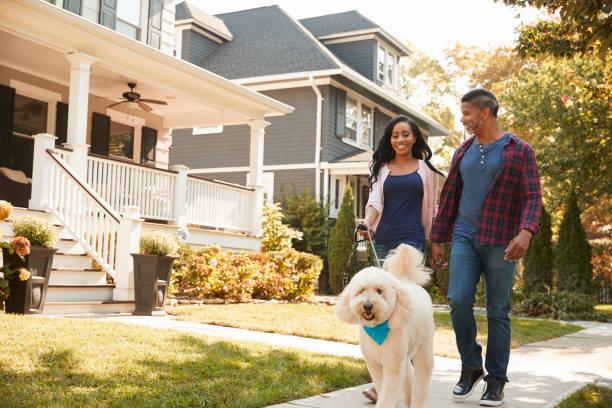 Couple Walking Dog Along Suburban Street Couple Walking Dog Along Suburban Street residential district stock pictures, royalty-free photos & images