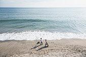 ビーチで犬を歩くカップル