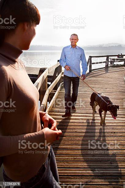 Couple walking dog on pier picture id127543976?b=1&k=6&m=127543976&s=612x612&h=cvnrntjmjrhhqq0gwwhhd2stsyj935h9jqivv5aundo=