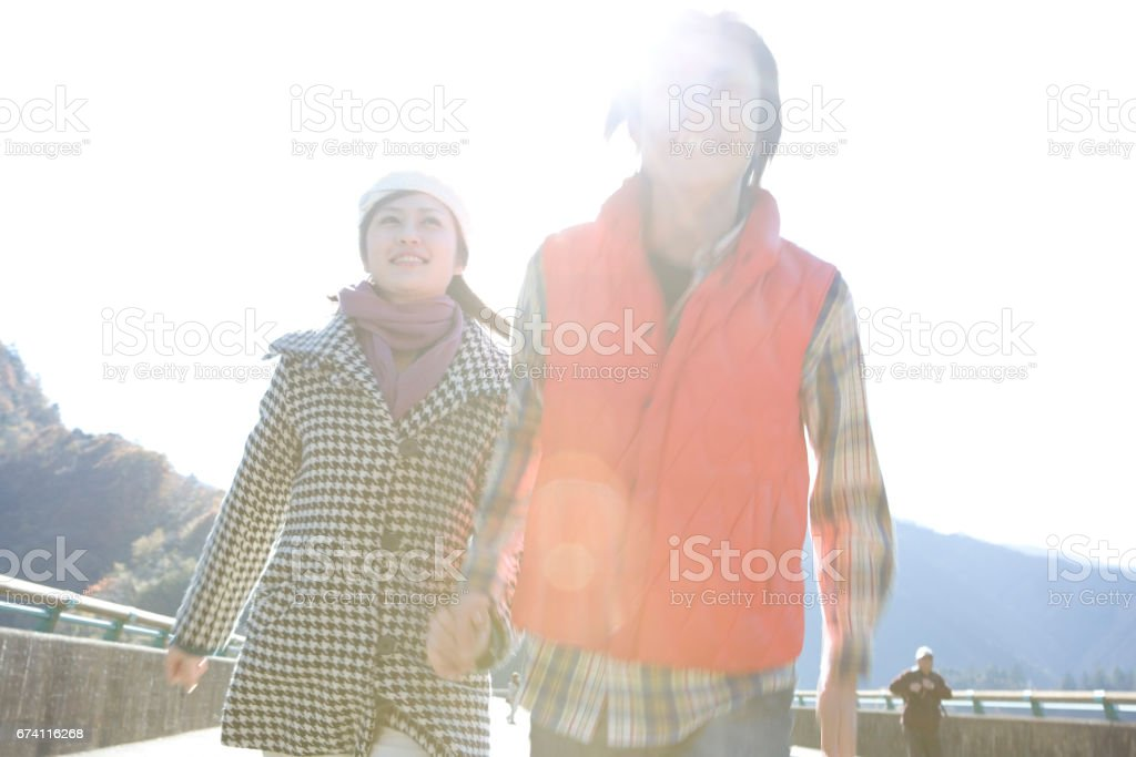 Couple walking hand in hand royalty-free stock photo