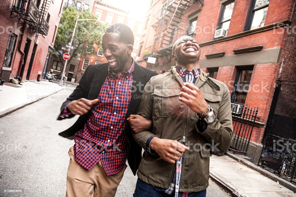 Couple walking in Greenwich Village - NY stock photo