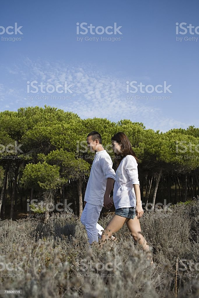 Couple walking in the countryside royalty-free stock photo