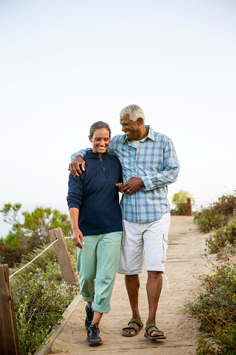 istock Couple walking on boardwalk. 475118182