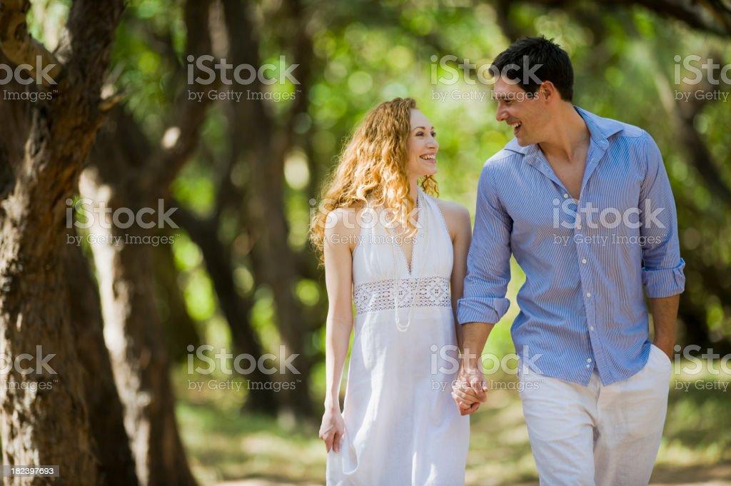 Couple walking royalty-free stock photo