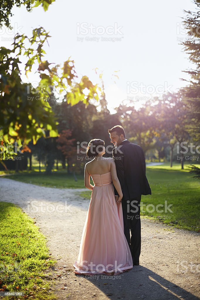 Couple walking stock photo