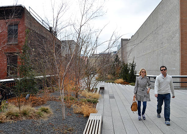 Couple walking The High Line stock photo