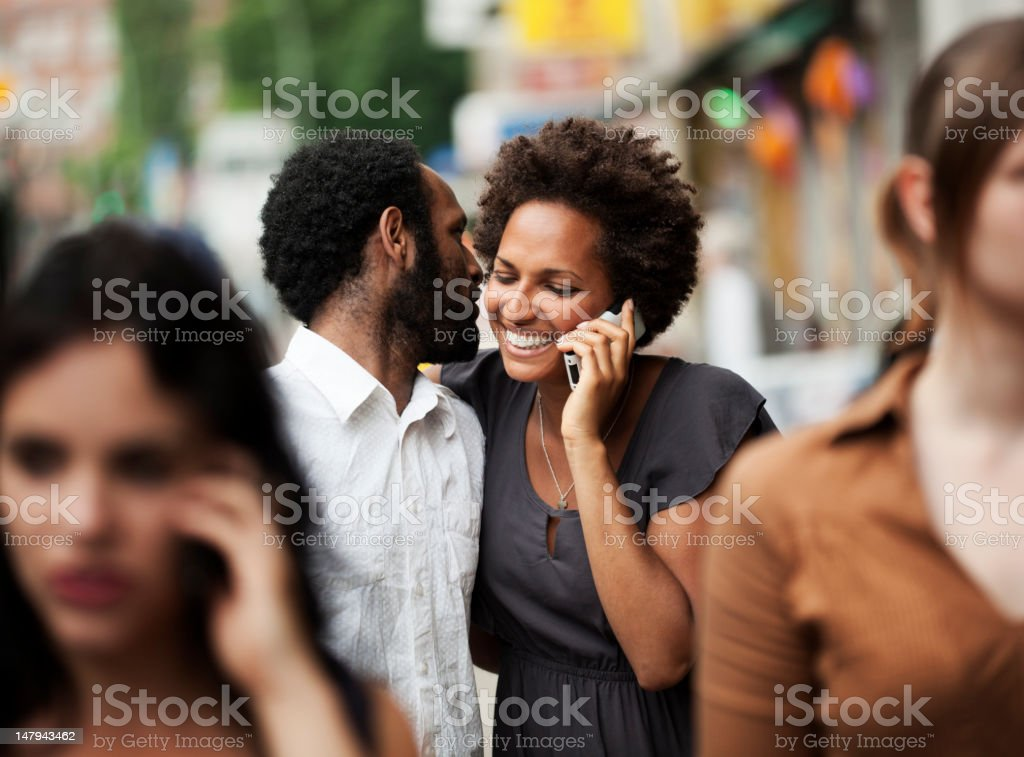 Couple Walking Together in the City royalty-free stock photo
