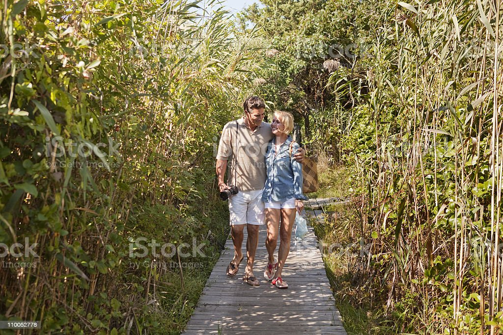 Couple walking together stock photo