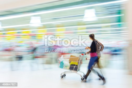 istock Couple Walking With Shopping Cart in Mall 498647821