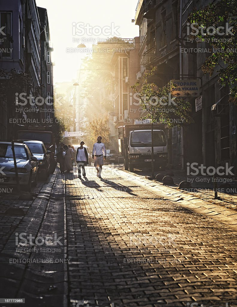 Couple walks down the streets of Istanbul, Turkey royalty-free stock photo