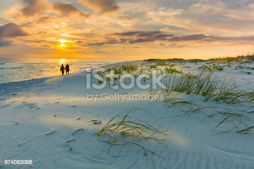 Silhoutte of couple walking along a beach under a colorful sunset sky