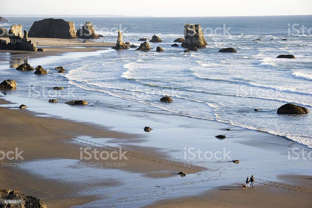 Couple Walks on the Beach royalty-free stock photo