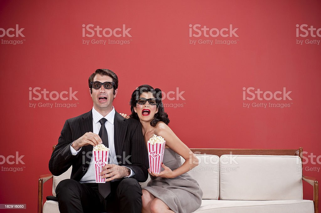 Couple Watching 3D Movie. royalty-free stock photo