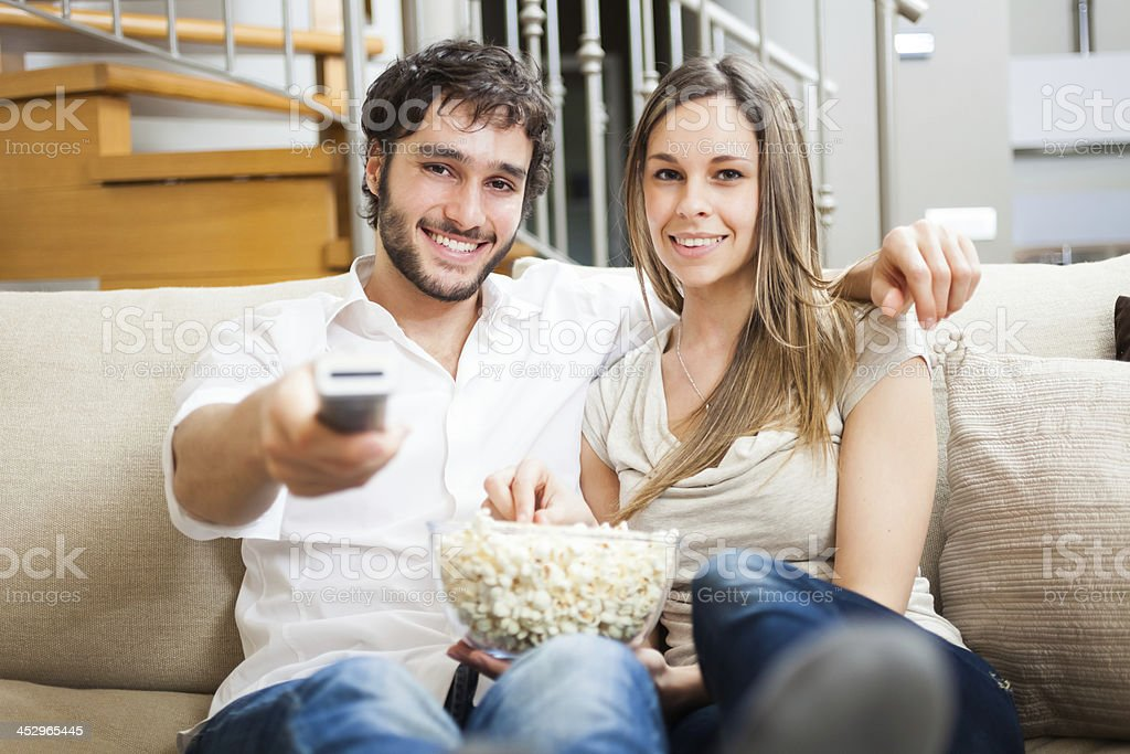Couple watching a movie royalty-free stock photo