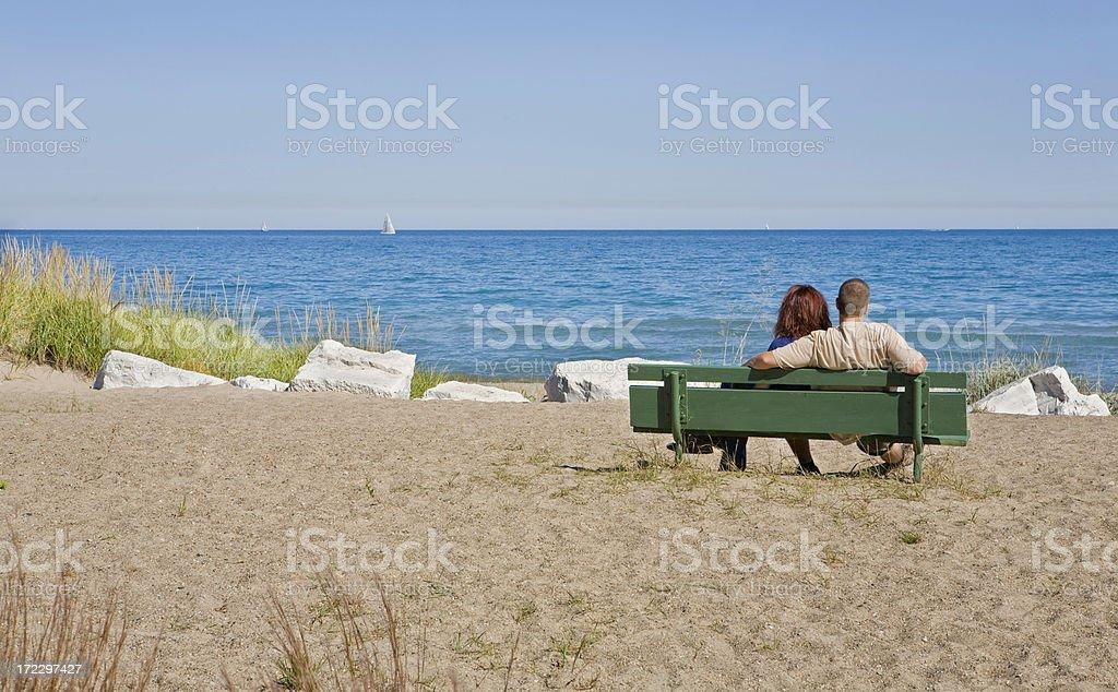 couple watching sailboats royalty-free stock photo