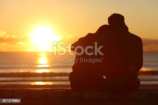 istock Couple watching sunset on the beach in winter 621379964