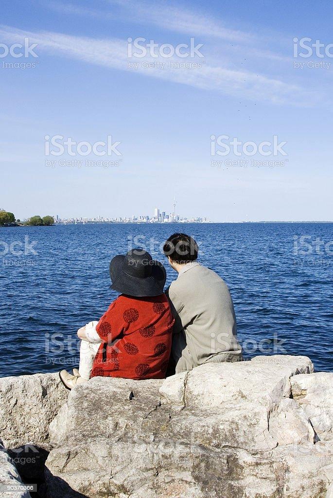 Couple Watching Toronto Skyline royalty-free stock photo