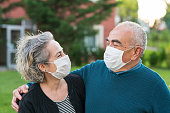 Couple wear surgical masks